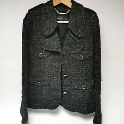 Barbara Bui Black Mohair Tweed Jacket W Leather Trim Button Front Size Eur 38