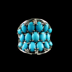 Hsn Heritage Gems Turquoise And Topaz Cigar Band Ring Size 10 398