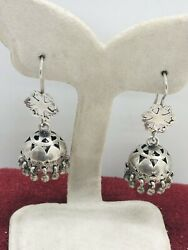 Genuine Antique Silver Round Tassel Kush Dangle Earrings Rare Collectible 1920s