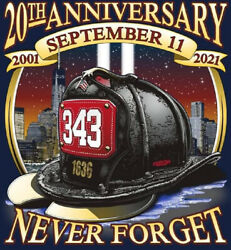 20th Anniversary 9-11 Tee Never Forget Navy Fire Tee