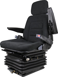 Tractor Backhoe Seat Fully Adjustable With Suspension And Swivel Black Fabric