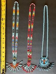 3 Native American Indian Beaded Necklaces