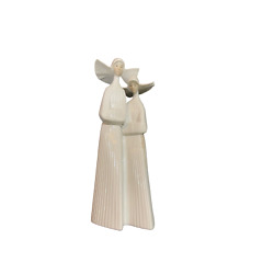 Lladro Two Nuns In White With Rosaries Porcelain Figurines