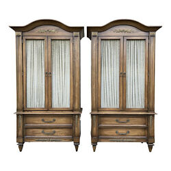 20th Century White Fine Furniture Italian Provincial Bedroom Armoires - A Pair