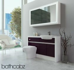 Bathroom Fitted Furniture Aubergine Gloss/white Matt 1300mm H2 With Wall Unit -