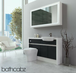 Bathroom Fitted Furniture Anthracite Gloss/white Matt 1300mm H2 With Wall Unit -