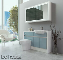 Bathroom Fitted Furniture Duck Egg Blue Gloss/white Matt 1300mm H2 With Wall Uni