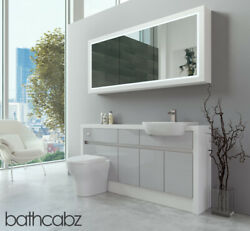 Bathroom Fitted Furniture Light Grey Gloss/white Matt 1600mm H2 With Wall Unit -