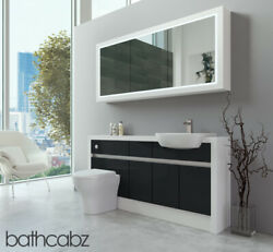 Bathroom Fitted Furniture Anthracite Gloss/white Matt 1600mm H2 With Wall Unit -