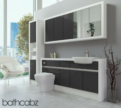 Bathroom Fitted Furniture Dark Grey Gloss/white Matt 1700mm With Wall And Tall - B