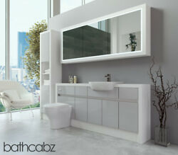 Bathroom Fitted Furniture Light Grey Gloss/white Matt 1800mm H2 With Wall And Tall