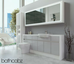 Bathroom Fitted Furniture Light Grey Gloss/white Matt 1900mm H2 With Wall And Tall