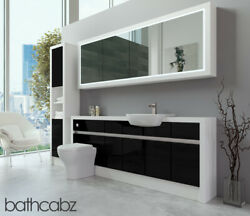 Bathroom Fitted Furniture Black Gloss/white Matt 2000mm H2 With Wall And Tall - Ba