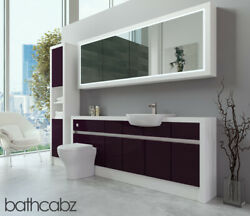 Bathroom Fitted Furniture Aubergine Gloss/white Matt 2000mm H2 With Wall And Tall