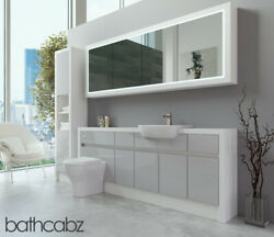 Bathroom Fitted Furniture Light Grey Gloss/white Matt 2000mm H2 With Wall And Tall
