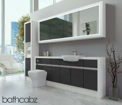 Bathroom Fitted Furniture Dark Grey Gloss/white Matt 2000mm H2 With Wall And Tall