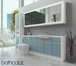Bathroom Fitted Furniture Duck Egg Blue Gloss/white Matt 2000mm H2 With Wall And T