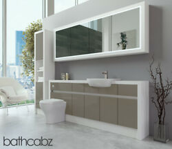 Bathroom Fitted Furniture Metallic Latte Gloss/white Matt 2000mm H2 With Wall And