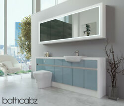 Bathroom Fitted Furniture Duck Egg Blue Gloss/white Matt 2100mm H2 With Wall Uni