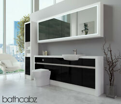 Bathroom Fitted Furniture Black Gloss/white Matt 2100mm H2 With Wall And Tall - Ba