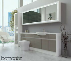 Bathroom Fitted Furniture Latte Gloss/white Matt 2100mm H2 With Wall And Tall - Ba
