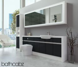 Bathroom Fitted Furniture Anthracite Gloss/white Matt 2100mm H2 With Wall And Tall
