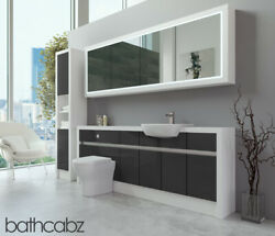 Bathroom Fitted Furniture Dark Grey Gloss/white Matt 2100mm H2 With Wall And Tall