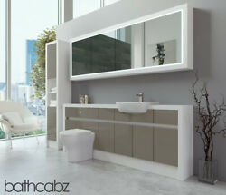 Bathroom Fitted Furniture Metallic Latte Gloss/white Matt 2100mm H2 With Wall And