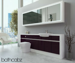 Bathroom Fitted Furniture Aubergine Gloss/white Matt 2200mm H2 With Wall Unit -