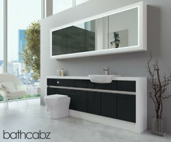 Bathroom Fitted Furniture Anthracite Gloss/white Matt 2200mm H2 With Wall Unit -