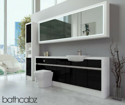 Bathroom Fitted Furniture Black Gloss/white Matt 2200mm H2 With Wall And Tall - Ba