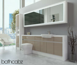 Bathroom Fitted Furniture Cappuccino Gloss/white Matt 2200mm H2 With Wall And Tall
