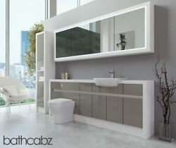 Bathroom Fitted Furniture Latte Gloss/white Matt 2200mm H2 With Wall And Tall - Ba