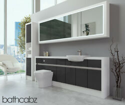 Bathroom Fitted Furniture Dark Grey Gloss/white Matt 2200mm H2 With Wall And Tall