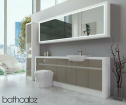 Bathroom Fitted Furniture Metallic Latte Gloss/white Matt 2200mm H2 With Wall And
