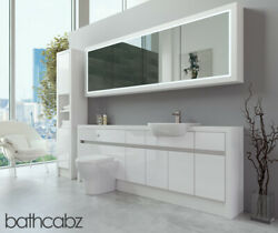 Bathroom Fitted Furniture White Gloss/white Matt 2200mm H2 With Wall And Tall - Ba