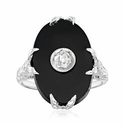 Vintage Diamond Ring With Black Onyx In 18kt White Gold Size 6