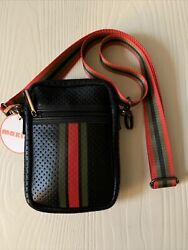 New Haute Shore Casey Crossbody Small Bag - Black Red Green Accents Pouch