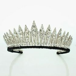 Victorian Art Vintage 925 Sterling Silver Diamond Queen 'the Badged Tiara
