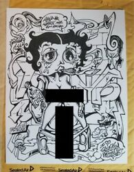 Betty Boop Hand Drawn 1/1 Rare Artist Drawings Collectible Adult