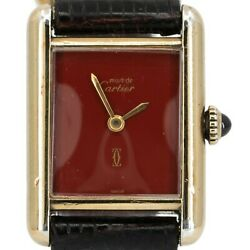 Tank Must De Ladies Red Lacquer Manual Wind Silver Gold Plated
