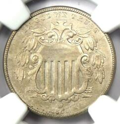 1866 Rays Shield Nickel 5c Coin - Ngc Uncirculated Details Ms Unc - Rare Date