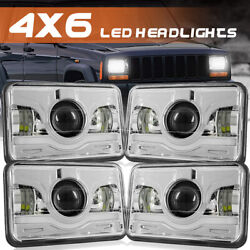 4pc 4x6and039and039 180w Led Headlights Hi-lo Sealed Beam For Peterbilt Kenworth T800 W900