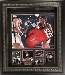 Muhammad Ali Aka Cassius Clay Autograph Signed Glove Collage Coa Framed Proof