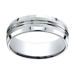 18k White Gold 7.00 Mm Comfort-fit Menand039s Wedding And Anniversary Band Ring Sz-10