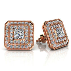 10k Rose Gold Over Silver Simulated Diamond Square Studs Earrings