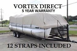 New Beige Vortex 15 - 16 Ft Ultra 5 Year Canvas Cover For Pontoon/deck Boat
