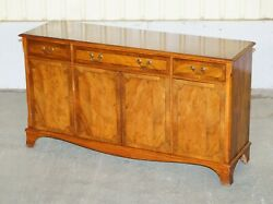 Vintage And Lovely Burr Yew Wood Three Drawers And Cupboard Sideboard
