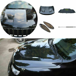 For 2011-2021 Jeep Grand Cherokee Black Front Hood Vented Bonnet Cover 5pcs
