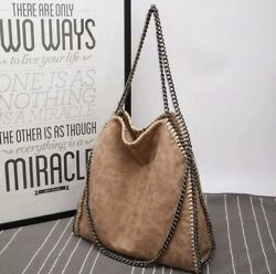 Large Shoulder Bag With Chain Straps Brown Faux Leather